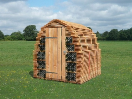 timber and recycled bottles