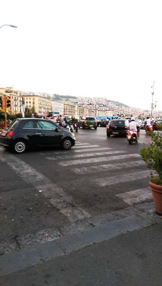 Cars driving in Posillipo