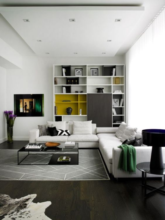 green-blanket-white-sofa-flowers-suspended-ceiling-modern-living-room