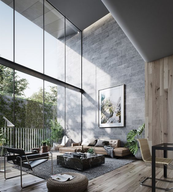 grey-blanket-tan-sofa-curtain-wall-double-heighted-living-room-timber-floor-timber-wall-garden-indoor-plants-modern-living-room