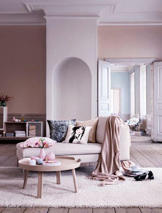 pink-blanket-pink-sofa-pink-walls-cushions-timber-floor-modern-living-room