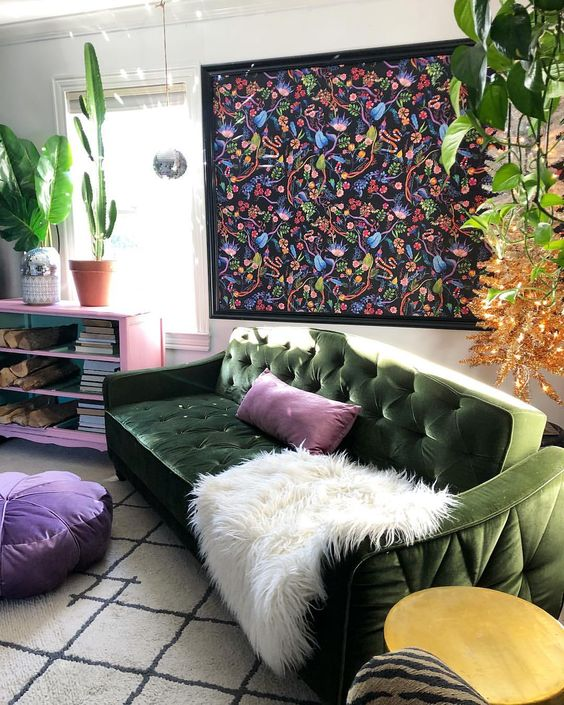 white-faux-fur-throw-green-sofa-cactus-indoor-plants-floral-prints-purple-bean-bag-eclectic-interior-modern-living-room