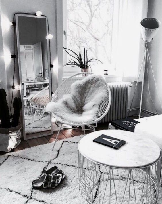white-faux-fur-throw-woven-chair-industrial-light-standing-mirror